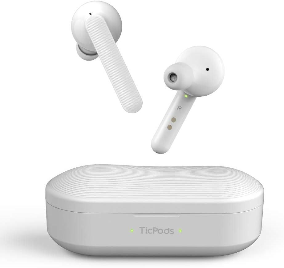 Mobvoi TicPods Free Son Auriculares Bluetooth inalámbricos auténticos con Estuche de Carga, Resistente al Agua, Audio nítido y Claro en Ambos oídos, Aislamiento de Ruido - Hielo