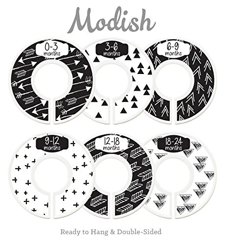 Modish Labels Baby Nursery Closet Dividers, Closet Organizers, Nursery Decor, Gender Neutral, Baby Boy, Baby Girl, Tribal, Arrows, Triangles, Boho Geometric, Nordic, Black, White (Black & White) by Modish Labels