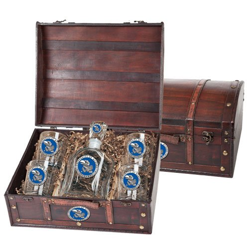 Kansas Jayhawks Capitol Decanter Wood Chest Set by Heritage Pewter