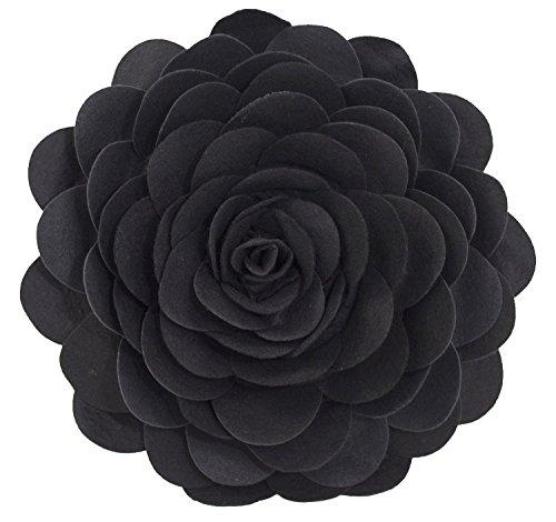 Eva's Flower Garden Decorative Throw Pillow With Insert - 13 inch Round (Black-Case Only) by Fennco Styles