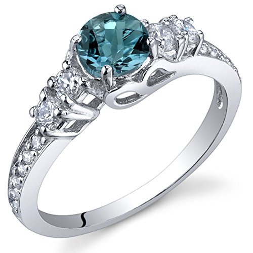 1/2 Ct Blue Topaz Ring - Enchanting 0.50 Carats London Blue Topaz Ring in Sterling Silver Rhodium Nickel Finish Size 5