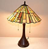 16''W Mission style Stained Glass Tiffany Style Table Desk Lamp, Zinc Base!