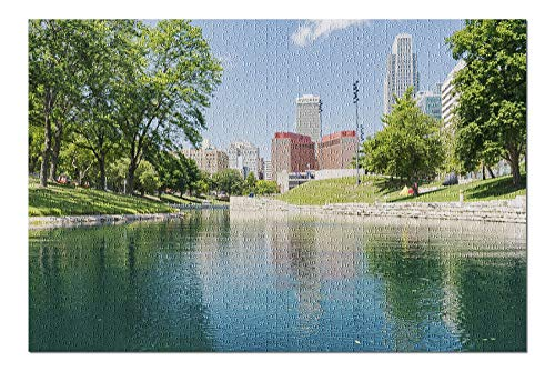 Omaha, Nebraska - Downtown View from River - Photography A-98393 98393 (20x30 Premium 1000 Piece Jigsaw Puzzle, Made in ()