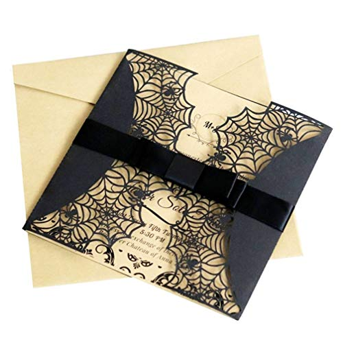 Masquerade Halloween Invitations (SUPVOX 8pcs Halloween Party Invitations Hollow Horror Party Invitations Cards Spiderweb Cards Masquerade Party)