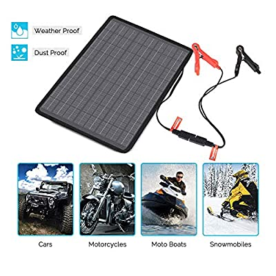 Renogy 10W 12V Portable Solar Panel Battery Maintainer Trickle Charger with Lighter Plug, Alligator Clips, and Battery Cables: Garden & Outdoor