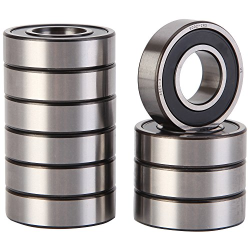 XiKe 10 Pack 6002-2RS Precision Bearings 15x32x9mm, Rotate Quiet High Speed and Durable, Double Seal and Pre-Lubricated, Deep Groove Ball Bearings. by XiKe
