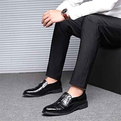 Nero Eleganti Pelle In Oxford Plus No Casual Sposa Size Shoelace Scarpe Coccodrillo Da Vera Uomo Per Ba8gOwx