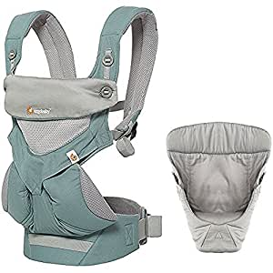 Ergobaby Bundle - 2 Items: ICY Mint All Carry Position 360 Mesh Baby Carrier and Easy Snug Infant Insert Grey