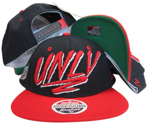 UNLV Runnin Rebels Black/Red Two Tone Plastic Snapback Adjustable Hat / (Unlv Hats For Men)