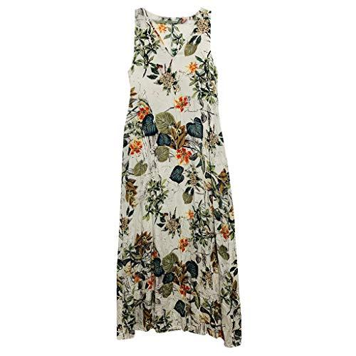 - TUSANG Women's Skirt Casual Sleeveless V-Neck Flower Print Maxi Tank Slim Fit Comfy Flowy Long Dress(Beige,US-8/CN-L)