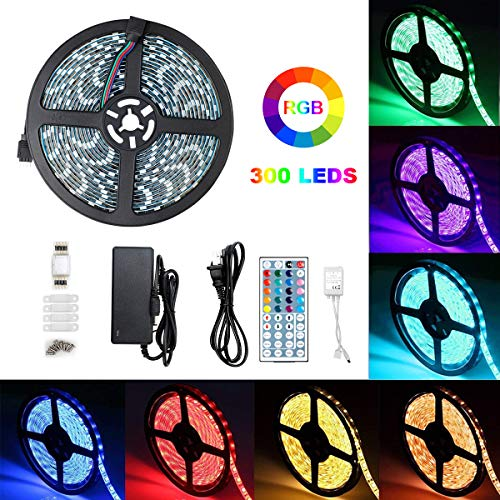 - Led Strip Lights Waterproof 5050 RGB 16.4ft/5m 300leds Color Changing Strip Light with 44Keys IR Remote Outdoor Decoration Lighting Strips with12V Power Supply for Home TV Indoor Dec