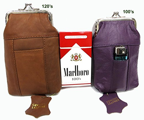 (Leather Cigarette Case 1 Pair 2 Color/Size Genuine Soft Purple 100s + Brown for 120s)
