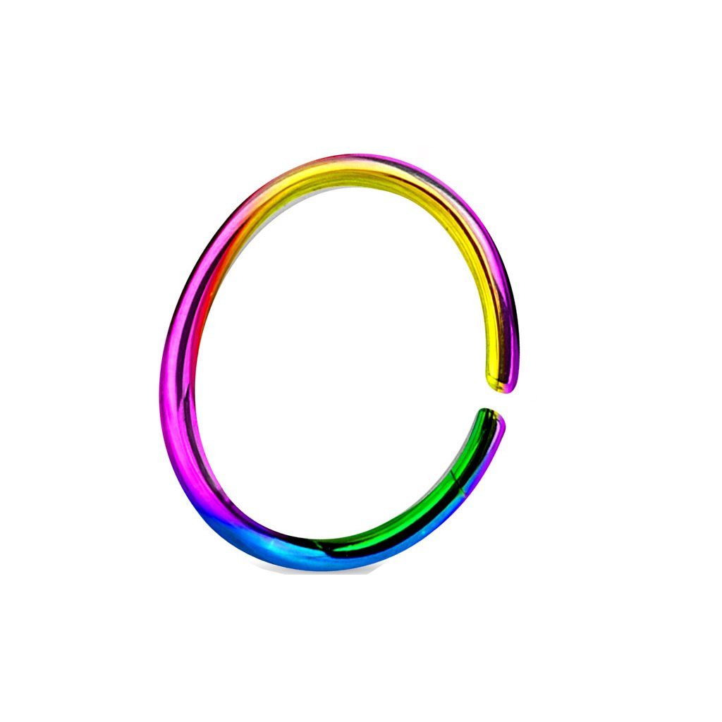 (2 Pieces) 20g (0.8mm) Rainbow Nose Hoop Annealed and Rounded Ends Cut Ring Titanium Anodized Over 316L Surgical Steel (Nose, Cartilage, Eyebrow, Ear, (10mm) Themadhatter