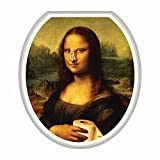 Novelty Toilet Seats Funny Mona Lisa With Clothespin On Nose - Toilet Lid Sticker Tattoo - Round