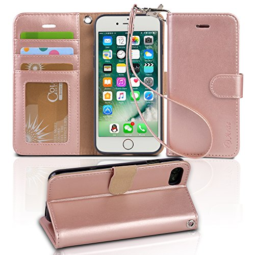 iphone 7 case, Arae iphone 7 wallet Case with Kickstand and Flip cover (Rosegold)