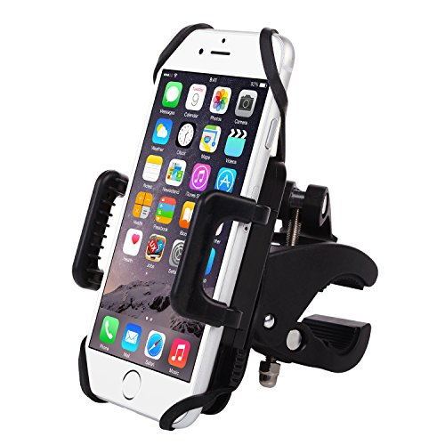 Bike Mount- Emixc Universal Phone Bicycle &Motorcycle Holder 360 Degrees Rotatable Cradle Clamp for iOS Android GPS Rubber Strap Fit Any Smartphone (Cd Player Holster)