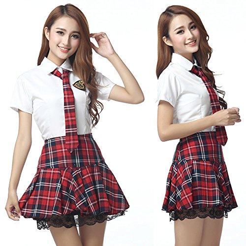 Korean Costume For Girl Kids (Short Sleeves Japanese School Uniform Girl Sailor Dress Red/Tibetan Blue Plaid Skirt Uniformes Japonais Korean Costumes For Girl (S, Red))