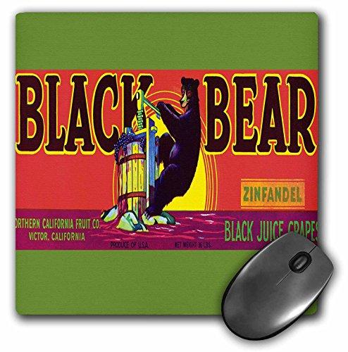 3dRose BLN Vintage Label and Advertising Art - Black Bear Zinfandel Black Juice Grapes Colorful Bear Pressing Grapes - MousePad (mp_171145_1)
