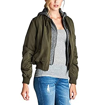 Fashionazzle Women's Hooded Classic Short Bomber Jacket Padded Coat (Medium, BMJ03-Olive)