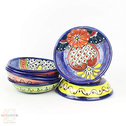 Mexican Talavera Bowls - Mexican Dishes - Mexican Plates - Mexican Ceramic Bowls - Mexican Kitchen Decor - Talavera Bowls - Handpainted Bowls - SET OF 4 Pasta - Large Talavera Plate