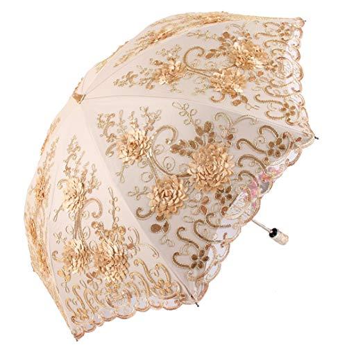 (Honeystore Vintage Lace UV Sun Parasol Folding 3D Flower Embroidery Umbrella BM1618 Yellow)
