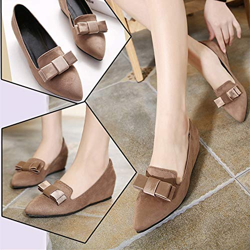 and FLYRCX Wedge Bows Heel Shoes C Fashion Work Spring Pointed Ladies Autumn Shoes 11wqHExgR