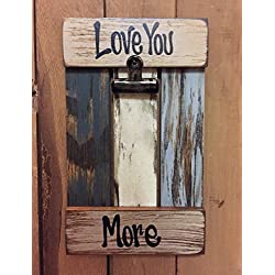 PHOTO HOLDER Shutter / Pallet Picture Frame - LOVE YOU MORE Reclaimed Wood Distressed Rustic Blue Green Cream White