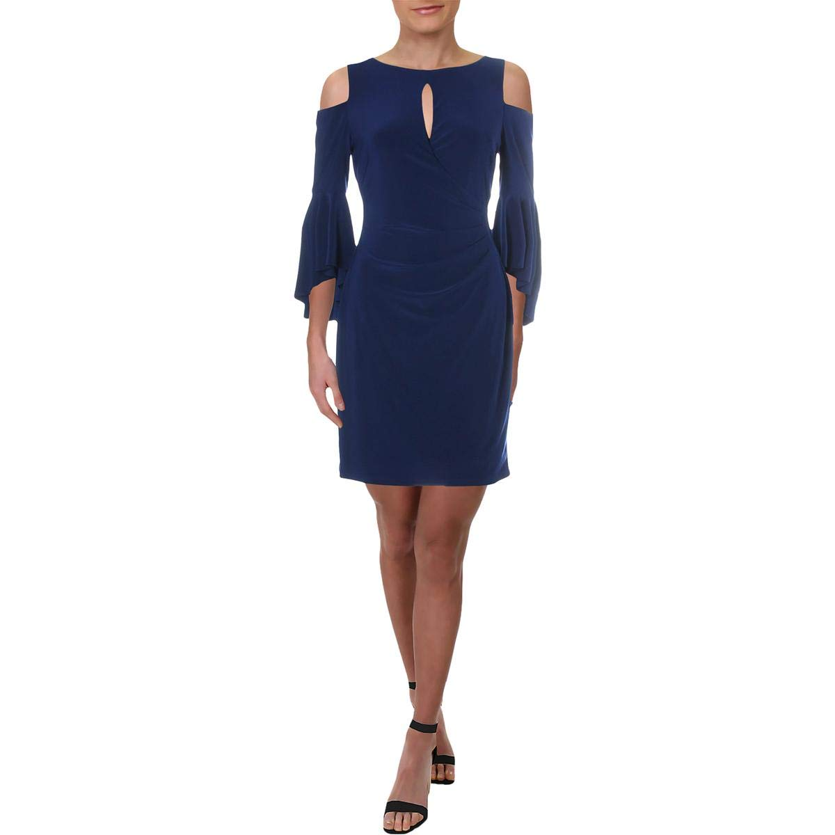 Sapphire Lauren Ralph Lauren Womens Petites ColdShoulder Keyhole Cocktail Dress