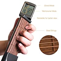 Geggur Pocket Guitar Chord Trainer Mini, Portable Guitar Practice Guitar String Finger Exerciser Tool Gadget 6 String 6 Fret with Screen Display for Beginner, Student