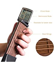 Hamkaw Adaptateur de Guitare de Poche avec écran Rotatif, 6 frettes à Faible Bruit, Outil d'entraînement Portable pour débutant Métronome intégré, Tension réglable
