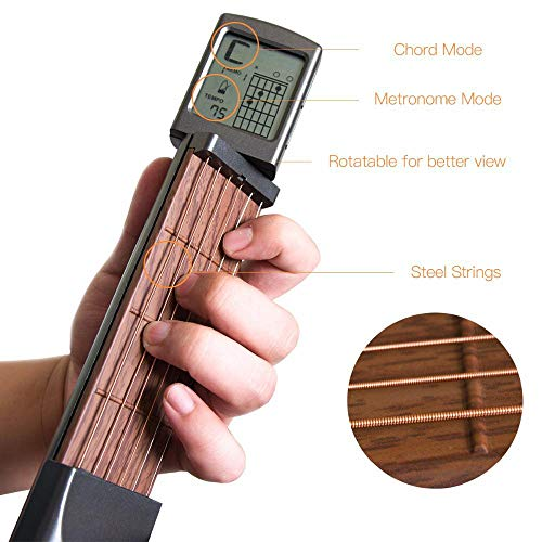 MOGOI Pocket Guitar Chord Trainer, Portable Mini 6 Fret Guitar Finger Trainer Chord Practice Tool With Rotatable Chords Chart Screen For Beginner (Best Guitar Practice Tools)