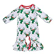 Cilucu Romper for Baby Girls Newborn Gown Infant Ruffle Cotton One-pieces Clothing Floral Outfits Green Christmas 0-6 months