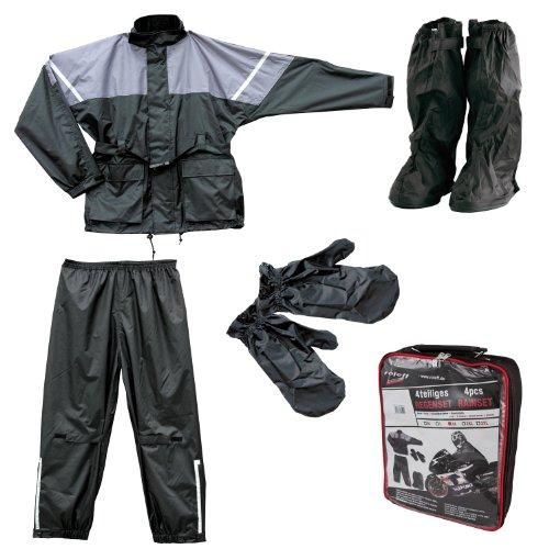 Roleff Racewear Regenjacke und Regenhose, 4-teilig, Schwarz/Grau, XXL