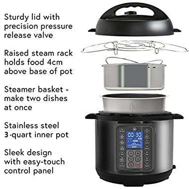 Mealthy MultiPot 9-in-1 Programmable Electric Pressure Cooker with Stainless Steel Pot, Steamer Basket and Instant Access to Mealthy Recipe App. Pressure Cook, Slow Cook, Saute & More (3 litres) 10