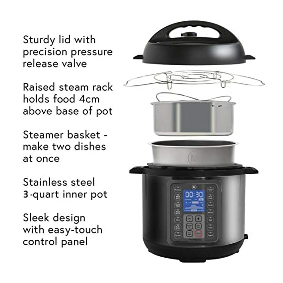 Mealthy MultiPot 9-in-1 Programmable Electric Pressure Cooker with Stainless Steel Pot, Steamer Basket and Instant Access to Mealthy Recipe App. Pressure Cook, Slow Cook, Saute & More (3 litres) 3