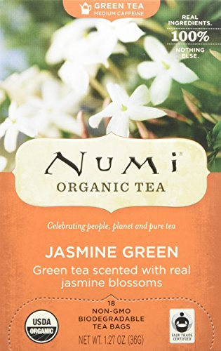 Numi Organic Tea Jasmine Green, 18 Count Box of Tea Bags