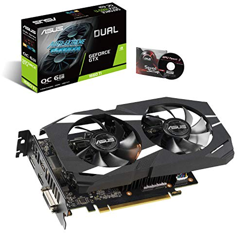 ASUS GeForce GTX 1660 Ti 6GB Dual-fan Overclocked Edition VR Ready Dual HDMI DP 1.4 Gaming Graphics Card (Dual-GTX1660TI-O6G)