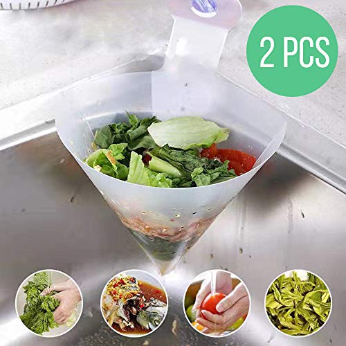 Kitchen filter Foldable Food grade material Easy to install,For Kitchen Waste,Leftovers Filter Mesh Bag in Sink,Drain Out Water for Food Residue(2PCS) (Strainer Sink Waste)