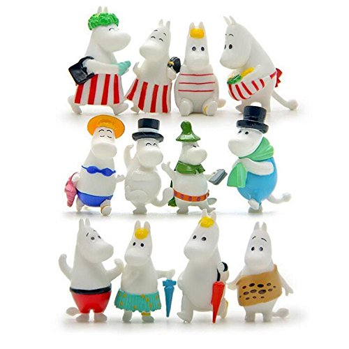 [Moomin Valley Character Hippo Family Minifigure figure toy Kids toy 12pcs] (Comic Book Character Costumes Uk)