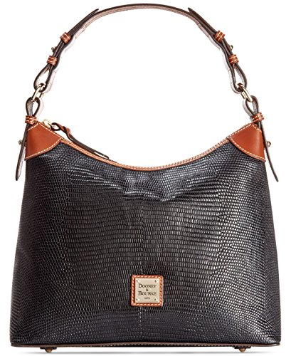 Dooney & Bourke Lizard Embossed Hobo Black