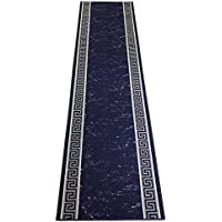 RugStylesOnline Custom Runner Meander Roll Runner 26 Inch Wide x Your Length Size Choice Slip Skid Resistant Rubber Back 5 Color Options (Royal Blue, 5 ft x 26 in)