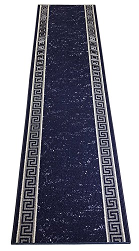 Navy Roll Runner - RugStylesOnline Custom Runner Meander Roll Runner 26 Inch Wide x Your Length Size Choice Slip Skid Resistant Rubber Back 5 Color Options (Royal Blue, 5 ft x 26 in)