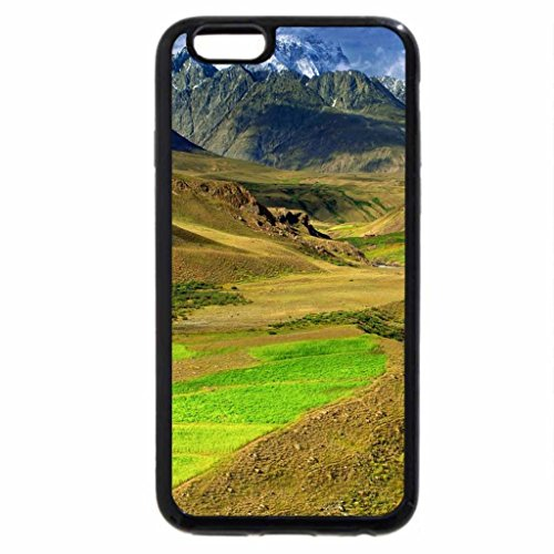 iPhone 6S Case, iPhone 6 Case (Black & White) - mountain stream down to a valley of fields