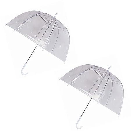 24716ba85 GadgetKing 2 Pack Rain Umbrellas Dome Birdcage Clear Transparent PVC Plastic  Wedding See Through Stick Canopy