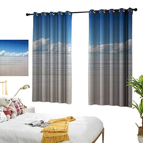 (Black Curtains Ocean Decor Collection,Magical Sea to Sky View with Clouds Nature Exotic Beach in South Asia Paradise Hot,Blue White Cream 54
