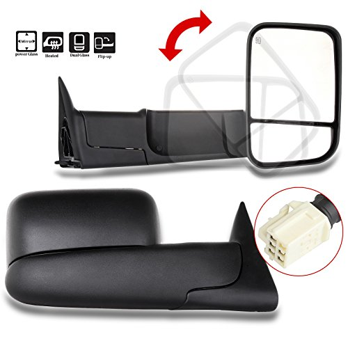 - Scitoo Power Heated Towing Mirrors 98-01 fit Dodge Ram 1500 98-02 Ram 2500 3500 Truck Black Rear View Side View Mirror Tow Pair Set