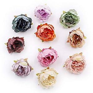 Artificial Flower Peony Flower Head Silk for Wedding Decoration Party Festival Home Decor DIY Decorative Wreath Fake Flowers 15 Pieces 5cm (Colorful) 21