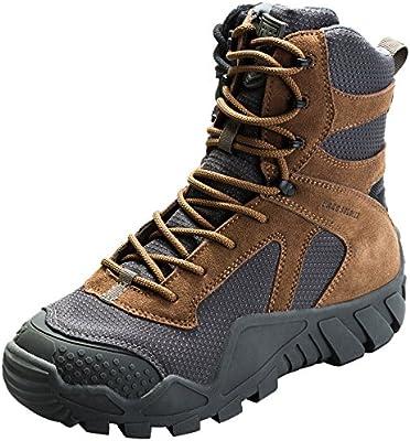FREE SOLDIER uomo militare high-top scarpe da escursionismo stivali con lacci lavoro di combattimento tattico all terrain stivali impermeabili 3 colori, Wolf Brown, 43