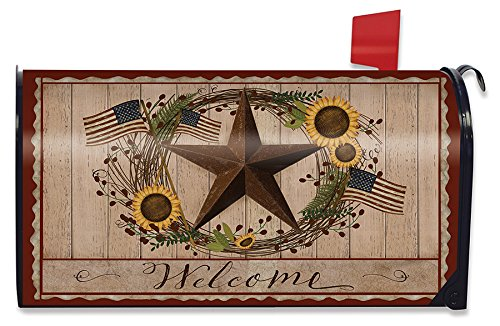 (Briarwood Lane Autumn Welcome Barnstar Magnetic Mailbox Cover Primitive Standard)