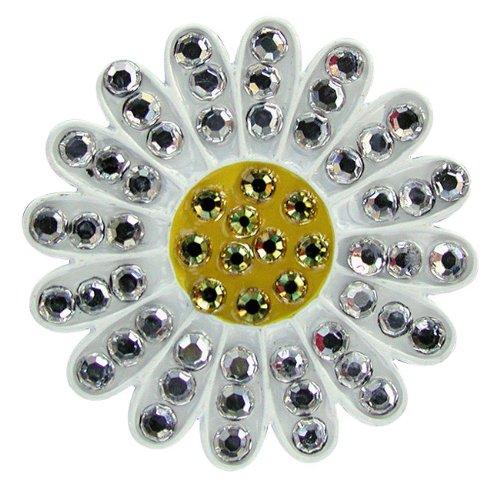- Navika Sunflower Swarovski Crystal Ball Marker with Hat Clip (White)